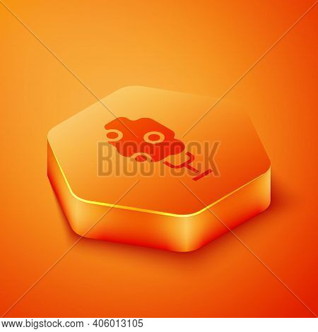 Isometric Tree With Apple Icon Isolated On Orange Background. Agricultural Plant. Organic Farm Produ