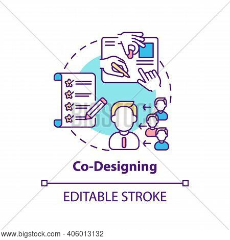 Co-designing Concept Icon. Co Creation Type Idea Thin Line Illustration. Design Developing Process W