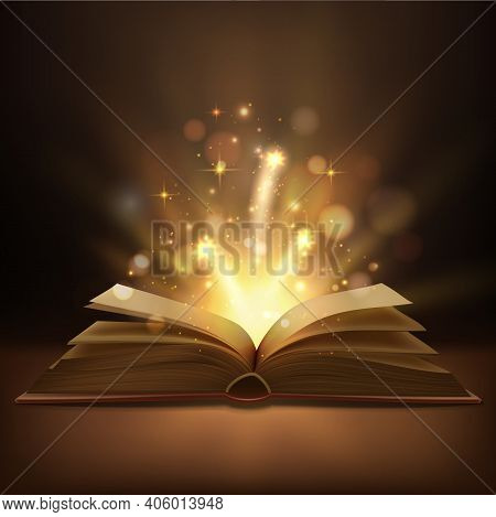 Open Book With Magic Lights Realistic Vector Design. Fantasy Or Fairy Tale Book, Bible Or Wizard Spe