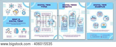 Digital Twin Brochure Template. Flyer, Booklet, Leaflet Print, Cover Design With Linear Icons. Compu