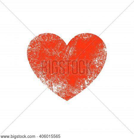 Vector Grunge Heart Shape. Red Heart Vintage Brush Love Grunge Element