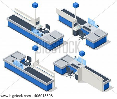 Isometric Series Of Cash Registers, Cash Desk, In A Large Supermarket. Empty Cash Desk With Computer