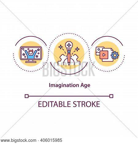 Imagination Age Concept Icon. Imagination Valuable Social Skill Idea Thin Line Illustration. Combini