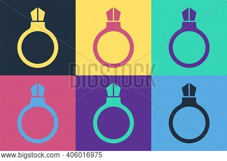 Pop Art Fantasy Magic Stone Ring With Gem Icon Isolated On Color Background. Vector