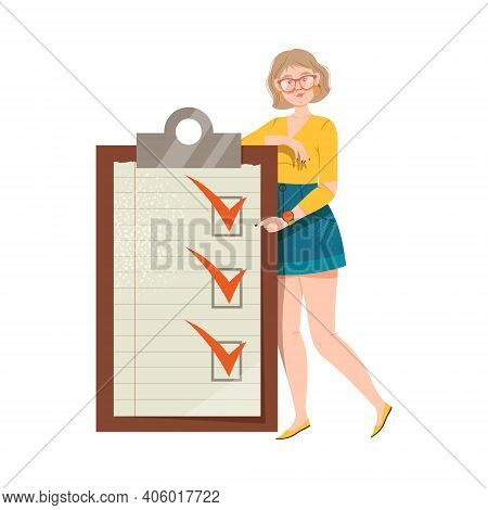 Young Woman With Checklist And Marked Checkbox As Task Completing Vector Illustration