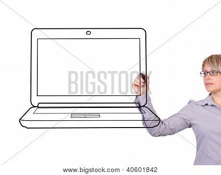 Woman Drawing Laptop