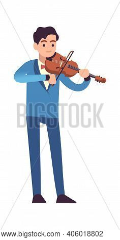 Violinist Performance. Classic Male Musician In Blue Dress With Violin Plays Melody, Stringed Musica