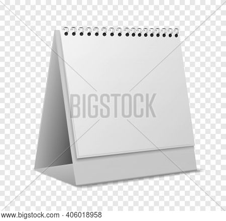 Calendar Mockup. Empty Realistic Organizer With Sheets On Spiral Angle View Standing, Blank Paper Pa