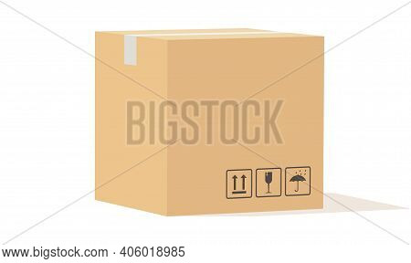 Cardboard Box. Closed Carton Packaging Cargo Storage, Beige Square Delivery Parcel With Fragile Sign