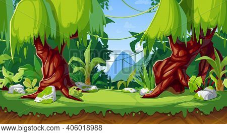 Cartoon Game Interface, Vector Forest Or Jungle Landscape, Seamless Background With Parallax Effect.