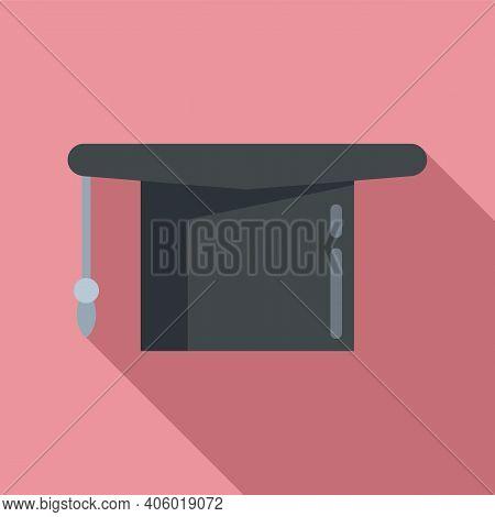 Foreign Language Graduation Hat Icon. Flat Illustration Of Foreign Language Graduation Hat Vector Ic