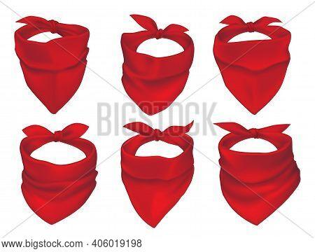 Red Bandanas, Face Mask Or Neck Scarfs Mockup. Cowboy, Bandit Or Protester Masks, Biker Clothing Ele