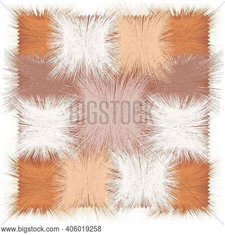 Shaggy Mat,carpet, Rug, Tapestry, Plaid With Grunge Striped Square Elements In Beige, Brown, White C