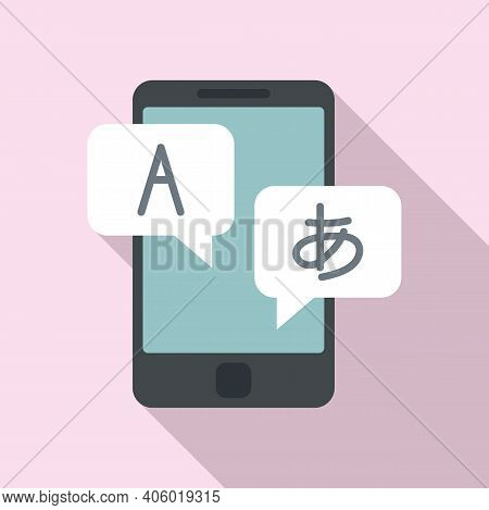 Foreign Language Study Smartphone Icon. Flat Illustration Of Foreign Language Study Smartphone Vecto