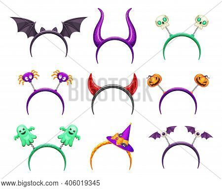 Halloween Creepy Headband With Horns And Monster. Head Hoop With Devil Horns, Bat Wings And Spider,