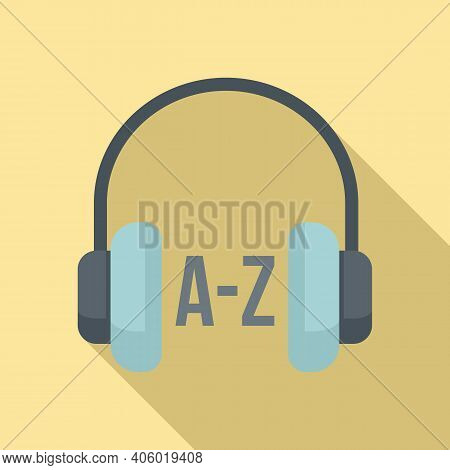 Foreign Language Study Headphones Icon. Flat Illustration Of Foreign Language Study Headphones Vecto