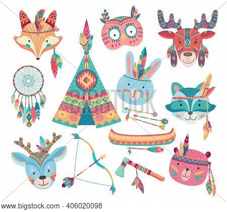 Cute Native American Or Indian Animal Vector Icons With Tribal Feather Headdresses, Arrows, Dream Ca