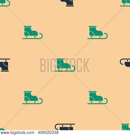 Green And Black Figure Skates Icon Isolated Seamless Pattern On Beige Background. Ice Skate Shoes Ic