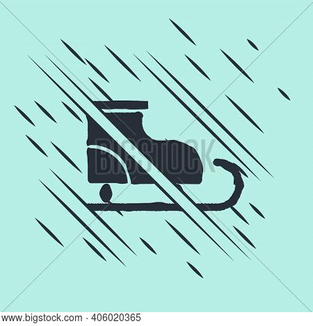 Black Figure Skates Icon Isolated On Green Background. Ice Skate Shoes Icon. Sport Boots With Blades