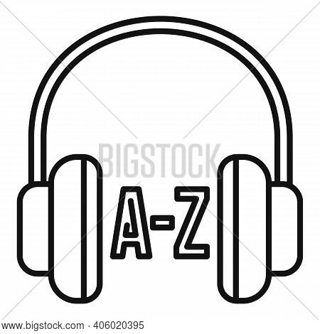 Foreign Language Study Headphones Icon. Outline Foreign Language Study Headphones Vector Icon For We