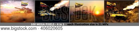 4 Images Of High Detail Modern Tank With Fictional Design And With Ecuador Flag - Ecuador Army Conce