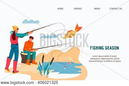 Website Template For Fishing And Camping Activity With Fishers Man And Woman, Flat Vector Illustrati