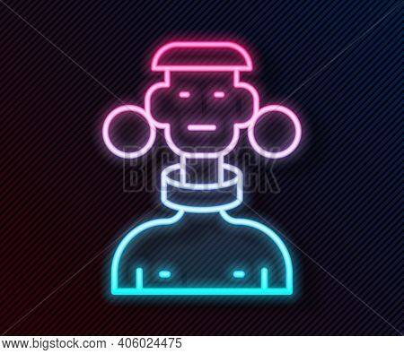 Glowing Neon Line African Tribe Male Icon Isolated On Black Background. Vector