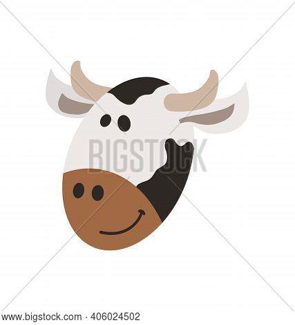 Cute Cow Head - Smiling - Flat Cartoony Vector Isolated