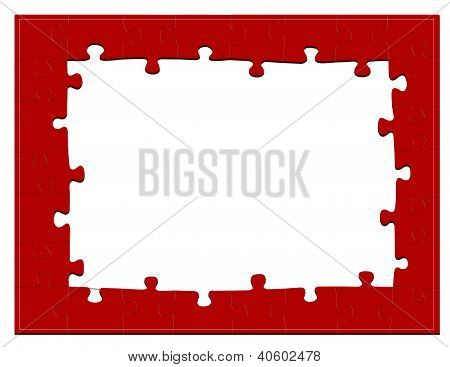 Red Jigsaw Puzzle Frame Or Background