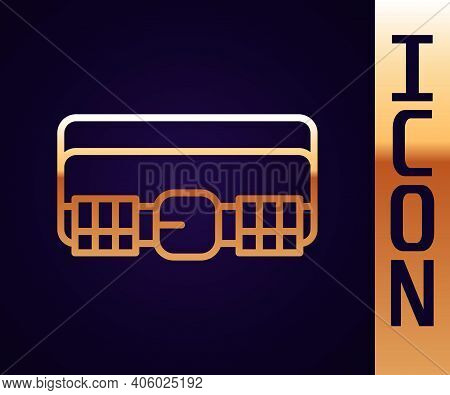 Gold Line Hunting Cartridge Belt With Cartridges Icon Isolated On Black Background. Bandolier Sign.