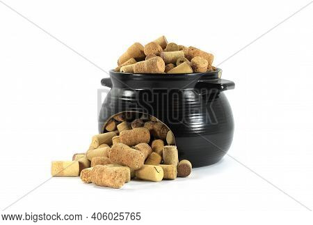 Wine Corks And Sparkling Wine Corks In Broken Ceramic Dishes Isolated On White Background As Symbol