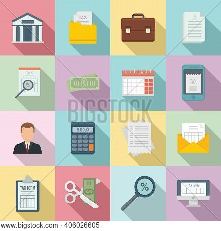 Tax Inspector Icons Set. Flat Set Of Tax Inspector Vector Icons For Web Design