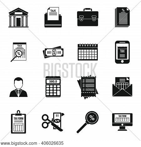 Tax Inspector Accounting Icons Set. Simple Set Of Tax Inspector Accounting Vector Icons For Web Desi