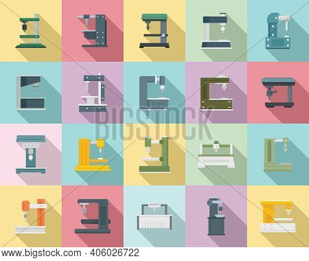 Milling Machine Icons Set. Flat Set Of Milling Machine Vector Icons For Web Design
