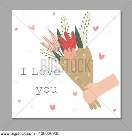 Vector Flat Card With A Bouquet Of Tulips. Tender Vector Illustration With A Bouquet Of Flowers. Bou