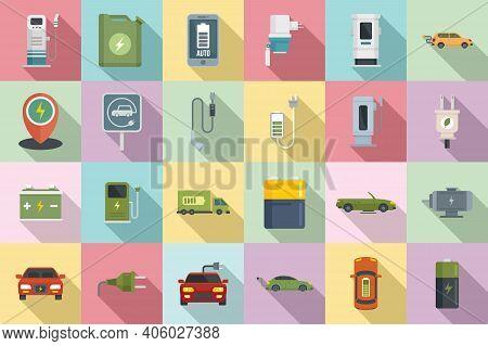 Hybrid Car Icons Set. Flat Set Of Hybrid Car Vector Icons For Web Design