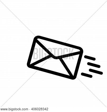 Flying Message Line Icon In Black. Sms, Newslatter. Vector Eps 10. Isolated On White Background.