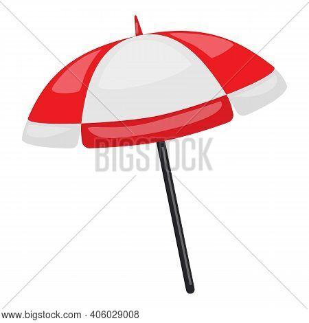 Beach Umbrella Icon. Cartoon Of Beach Umbrella Vector Icon For Web Design Isolated On White Backgrou