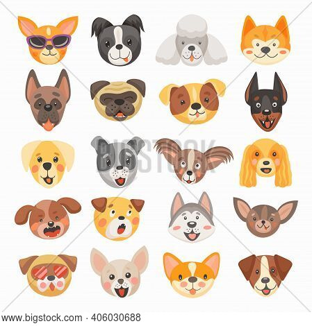 Cute Dog And Puppy Faces Cartoon Vector Design Of Pet Animals. Isolated Heads Of Terrier, French Bul
