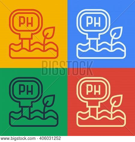 Pop Art Line Soil Ph Testing Icon Isolated On Color Background. Ph Earth Test. Vector