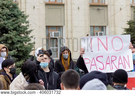 Krasnodar, Russia - January 31, 2021. Opposition Activists Protest To Support Alexei Navalny