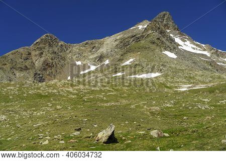 Passo Gavia, Sondrio Province, Lombardy, Italy: Landscape Along The Mountain Pass At Summer
