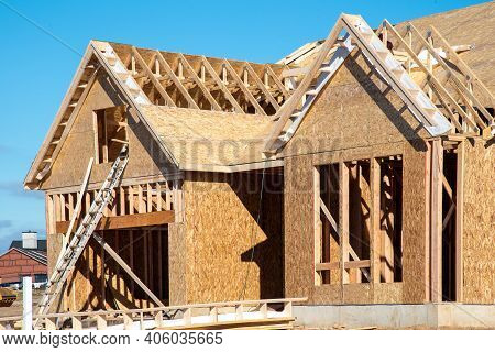 Wall And Rafters Of A Plywood House New Frame
