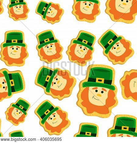 St Patrick's Day Cookie Seamless Pattern. Shamrock St. Patricks Day Sugar Cookie. Symbol Of St. Patr