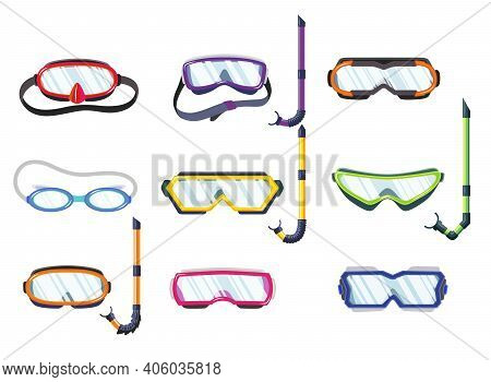 Snorkel Masks For Diving And Swimming Of Different Types. Illustration Of Scuba Diving, Swimming Mas