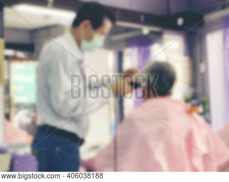 Blurred Image Of People With Face Mask Come To Cut Their Hair After The Thai Government Allow The Ba