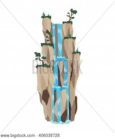 Cartoon River Cascade Waterfall. Landscape With Mountains And Trees. Design Element For Travel Broch
