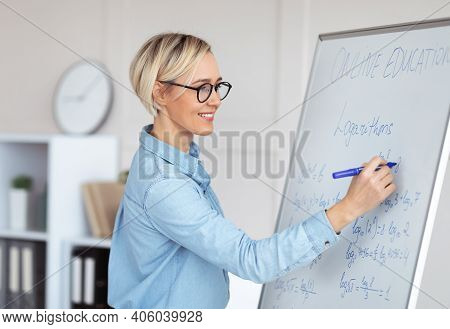 Experienced College Lecturer Teaching Advanced Mathematics Online, Writing Down Complicated Problem