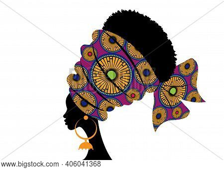 Portrait Beautiful African Woman In Traditional Turban Handmade Tribal Motif, Kente Head Wrap Africa