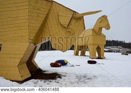 A Trojan Horse In The Company Of A Giant Bull. Safari Park